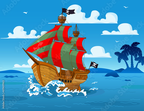 Pirate ship at sea