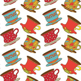 Seamless pattern with tea cups, coffee cups