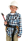 Young boy waring a constuction hardhat and belt