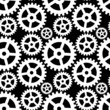 Abstract seamless pattern with cogwheels in black and white