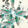 Seamless vector pattern with humming birds in watercolor style