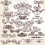 Vector set of decorative flourishes for design in vintage style