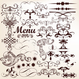 Vector set of decorative vintage elements and flourishes
