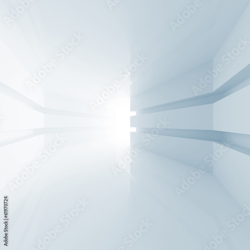 Abstract blue room interior with glowing doorway. 3d render