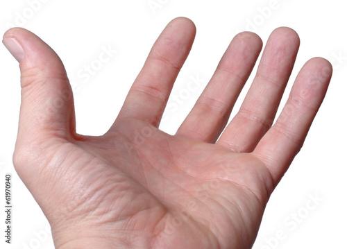 Empty male hand, palm upwards
