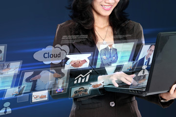 business woman in hightech concept working with laptop