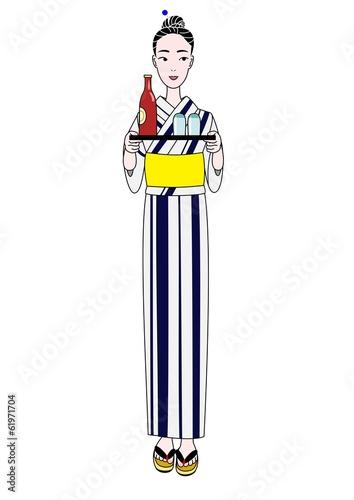 ビールのお盆を持つ浴衣の女性