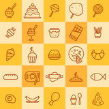 set of icons of different kinds of food