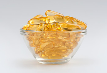 omega 3 gel capsules isolated on white background