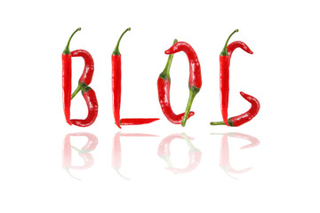 BLOG text composed of chili peppers. Isolated on white backgroun