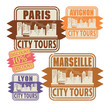 Grunge rubber stamp set with names of France cities