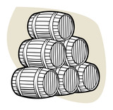 Wine or beer barrels, vector illustration