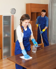 Professional cleaners cleaning furniture