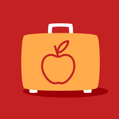 suitcase with apple