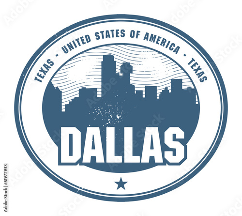 Grunge rubber stamp with name of Texas, Dallas