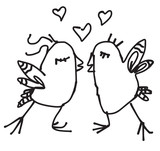 Spring birds in love hand drawn sketch in vector format