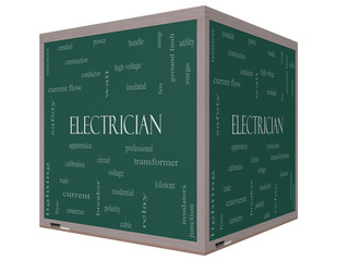 Electrician Word Cloud Concept on a 3D cube Blackboard