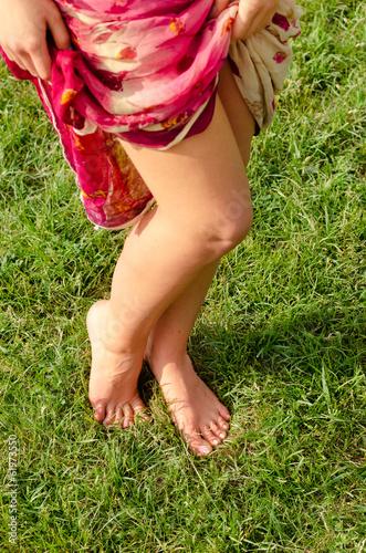 Sexy barefoot female legs