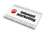 Finance concept: newspaper with Inbound Marketing and Head With
