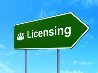 Law concept: Licensing and Business People on road sign