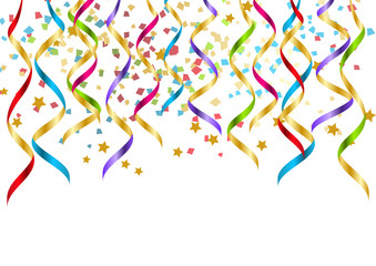 Party background with color ribbons