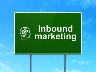 Business concept: Inbound Marketing and Head With Gears on road