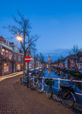 Tranquil evening by the canal in the city of Delft, The Netherla