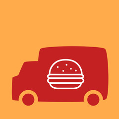 Truck with a burger.