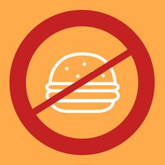 Prohibiting sign crosses a burger.