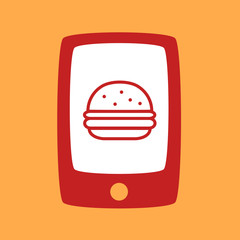 phone with a burger.