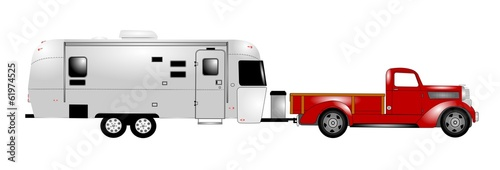 retro rv with pick up truck