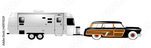 retro rv with family station wagon
