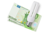 Enegy saver bulb over euro bills on white background