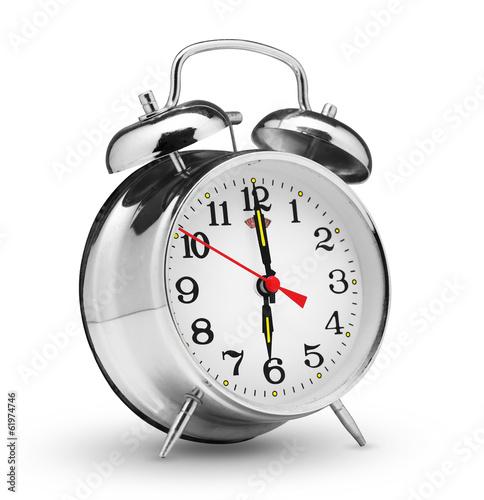 Leinwanddruck Bild classical alarm clock isolated on white background