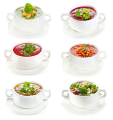 set of various bowls of soup
