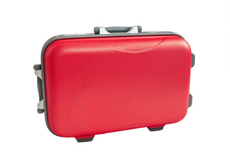 Travel Suitcase red color on white background