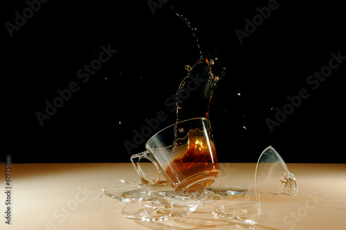 Broken tea glass on air