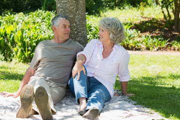 Mature couple sitting together against tree at park