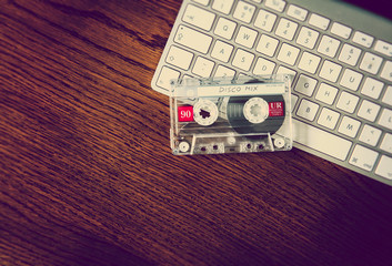 disco music tape on keyboard