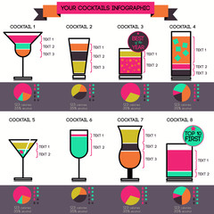 Vector cocktails infographic set