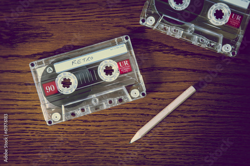 retro cassette and pencil