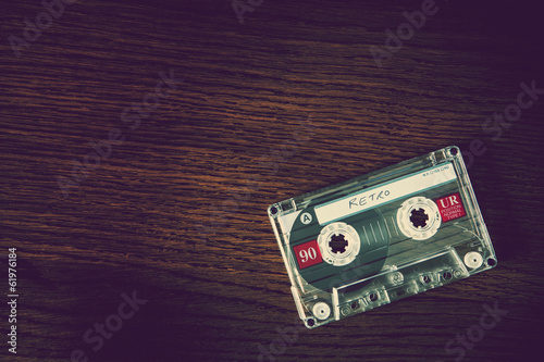retro cassette wood background