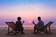 Leinwanddruck Bild - couple on the beach