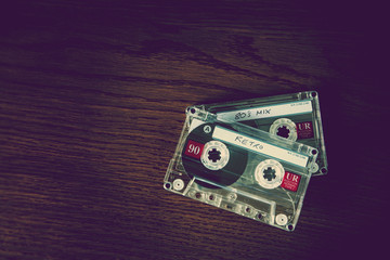 retro cassettes on desk