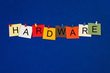 Hardware, sign series for computer terminology and internet.