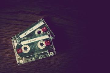 retro tapes on desk