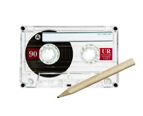 pencil and cassette
