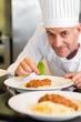 Closeup portrait of a male chef garnishing food
