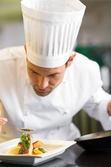 Closeup of a concentrated male chef garnishing food