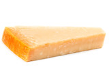 Parmesan Cheese  Isolated on White Background close up. Piece of